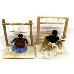 2 Vintage Native American Navajo Weaver Dolls