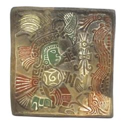 Vintage Mexican Mayan Carved Pottery Tile