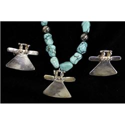Sterling Silver and Turquoise Nugget Jewelry Set