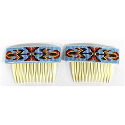 2 Native American Navajo Beaded Hair Combs