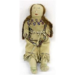 Vintage Plains Indian Beaded Leather Doll