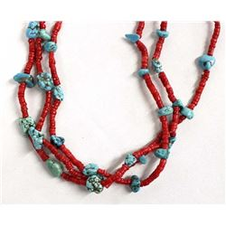 Turquoise & Coral Bead Necklace by Kills Thunder