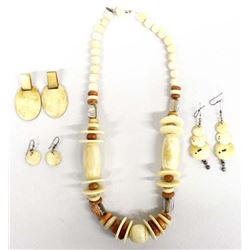 Carved Bone Necklace and 2 Pairs of Earrings