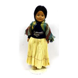 Hard Rubber Navajo Doll on Stand