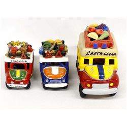 3 Mexican Pottery Buses
