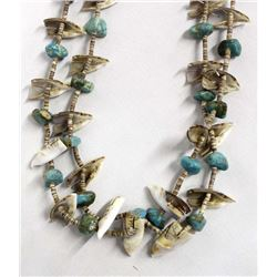 Navajo Turquoise & Shell Bird Fetish Necklace