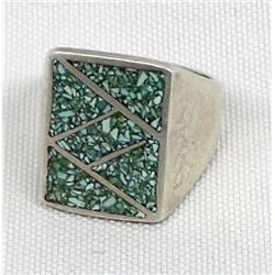 Vintage Navajo Sterling & Chip Inlay Ring, Sz 9.5