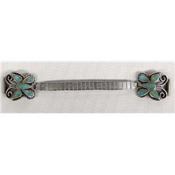 Vintage Navajo Sterling & Chip Inlay Watch Band