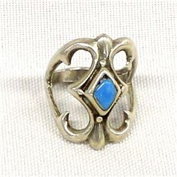 Navajo Sterling Turquoise Sand Cast Ring, Sz 6.25