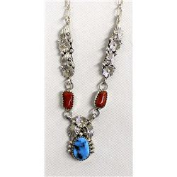Navajo Sterling Turquoise and Coral Necklace