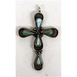 Vintage Zuni Sterling Turquoise Cross Pendant