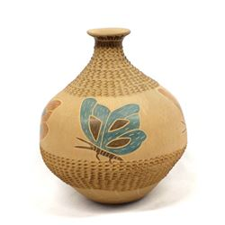 Mata Ortiz Carved Pottery Butterfly Jar by Pinion