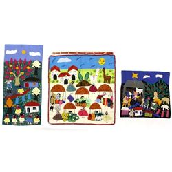 3 South American Peruvian Folk Art Arpilleras