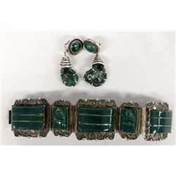 Vintage Mexican Taxco Silver Bracelet & Earrings