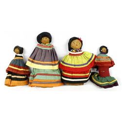4 Native American Seminole Folk Art Dolls