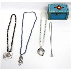 Beaded Trinket Box and Necklaces by Kills Thunder