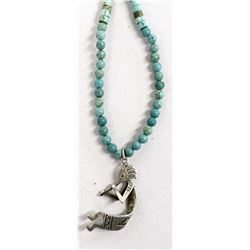 Turquoise and Sterling Kokopelli Pendant Necklace