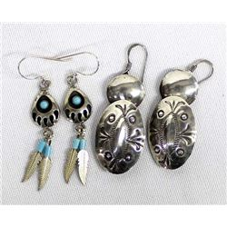 2 Pairs of Navajo Sterling Silver Earrings
