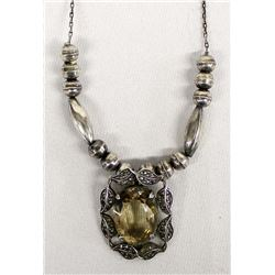 Vintage Sterling Silver Marcasite Necklace