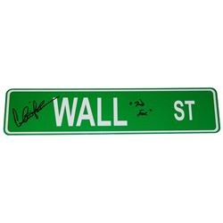Charlie Sheen Signed Wall ST. 4x18 Green Aluminum Street Sign w/Bud Fox