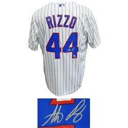 Anthony Rizzo Signed Chicago Cubs White Pinstripe Majestic Jersey