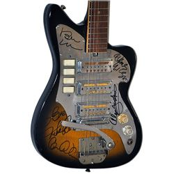 The Beach Boys Band Signed Darkened Vintage Guitar