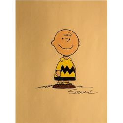 Charles Schulz Signed and Drawn Charlie Brown Sketch