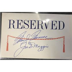 Monroe & DiMaggio Signed Reserved Placard