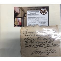 President George Washington Signed Personal Note