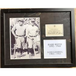 Babe Ruth & Lou Gehrig Framed Signatures Collage