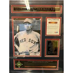 Actual Piece of Babe Ruth's Bat Framed Collage w/ PSA