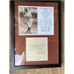 Babe Ruth Signed Letter Collage