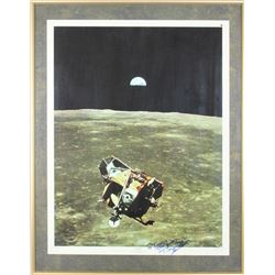 Buzz Aldrin Signed 22x30in Earth Rise Poster