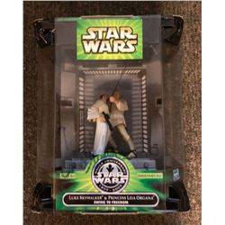 Carrie Fisher Signed Luke & Leia Action Figure Box