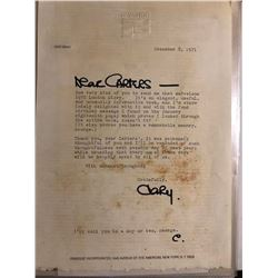 Cary Grant Signed & Written 1971 Letter
