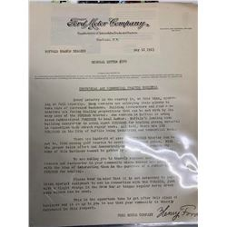 Henry Ford Signed Letter on Ford Motor Company Letterhead