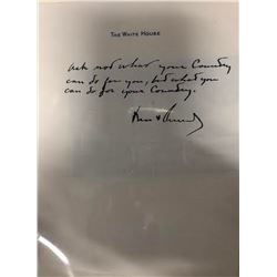 "John F. Kennedy Signed & Handwritten ""Ask Not.."" Sheet"