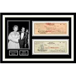 Lucille Ball and Desi Arnaz Signed Checks Collage