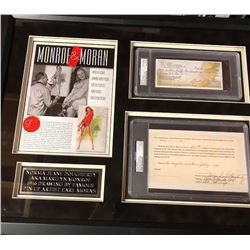 Monroe Signed Document and Moran Signed Check Collage