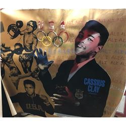 Muhammad Ali AKA Cassius Clay Signed Hand-Embellished Olympic Banner