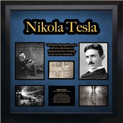 Nikola Tesla Drawn and Signed AC Transformer Diagram Collage