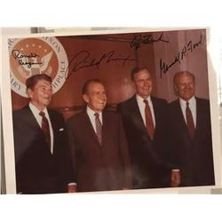 Nixon, Reagan, Ford & Bush Signed Group Photo