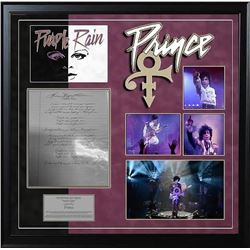 Prince Signed and Handwritten Purple Rain Lyrics
