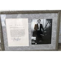 Valentino Liberace Signed & Framed Contract from 1979