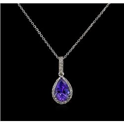 2.53 ctw Tanzanite and Diamond Pendant With Chain - 14KT White Gold