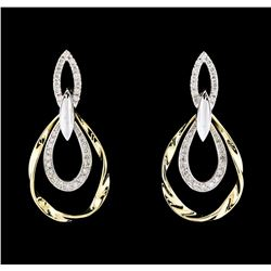 0.67 ctw Diamond Earrings - 14KT Two-Tone Gold