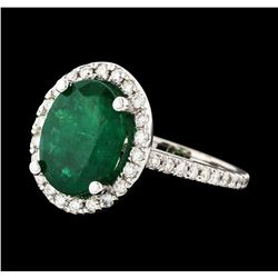 3.94 ctw Emerald and Diamond Ring - 14KT White Gold