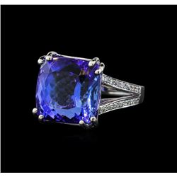 22.50 ctw Tanzanite and Diamond Ring - 14KT White Gold