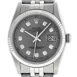 Rolex Mens Stainless Slate Grey Diamond 36MM Datejust Wristwatch