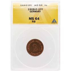 1908-D Germany 2 Pfennig Coin ANACS MS64Rb